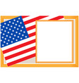 us flag gold frame card vector image vector image