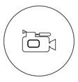 videocamera icon black color in circle vector image