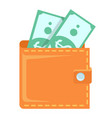 wallet with banknotes green papers dollars vector image vector image