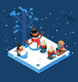 winter games isometric kids making snowman vector image vector image
