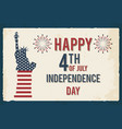 4th of july poster grunge retro metal sign with vector image