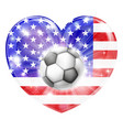 american soccer heart flag vector image vector image