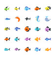 aquatic animals pack vector image vector image