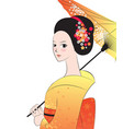 beautyful japanese woman wear kimono vector image