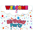 birthday invitation card with party icons vector image