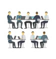 Business people set discussing meeting office sit vector image vector image