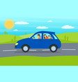 cartoon family journey blue car vector image vector image