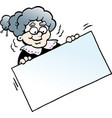 cartoon of a happy grandmother holding a sign vector image