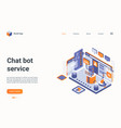chat bot isometric landing page 3d online service vector image vector image
