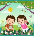 children observing nature vector image vector image