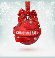 christmas sale decoration with red bow and ribbon vector image vector image