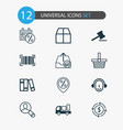 commerce icons set with auction sales day vector image vector image