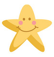 cute smiling yellow star on white background vector image vector image