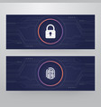 cyber security lock - finger print access card vector image vector image