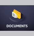 documents isometric icon isolated on color vector image vector image
