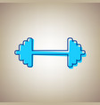 dumbbell weights sign sky blue icon with vector image vector image