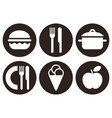 eating icons set isolated on white background vector image vector image