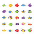 fishes flat icons set vector image vector image
