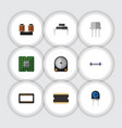flat icon technology set of coil copper hdd vector image vector image