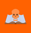 Flat on background of book skull