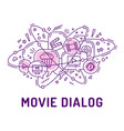 from movie or cinema icons in chat bubbles vector image