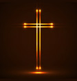 glowing christian cross religious symbol vector image vector image
