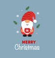 greeting card with christmas gnome and cup vector image vector image
