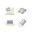 growth chart keywords and queue icons set credit vector image vector image