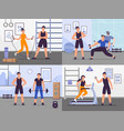 gym coach set people training vector image
