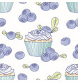 hand drawn seamless pattern with doodle cupcake vector image vector image