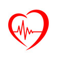 heart with heartbeat sign vector image