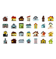 house icon set flat style vector image vector image