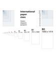 international standard of paper sizes vector image vector image