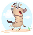 lovely cartoon of zebra dancing vector image vector image