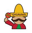 man with sombrero holding maraca mexico culture vector image vector image