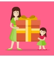 Mother and Daughter with Gift Flat Design vector image