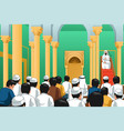 muslims praying in a mosque vector image