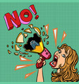no woman with megaphone protest policy vector image vector image