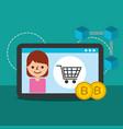 online shopping woman bitcoin blockchain commerce vector image