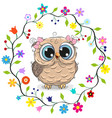 owl girl in a flowers frame vector image vector image