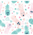 pink and blue pineapple faces seamless pattern vector image vector image
