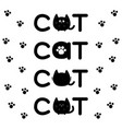 round shape black cat text icon set lettering paw vector image vector image
