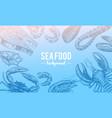 seafood background crustaceans shrimp lobster vector image
