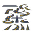 set bending roads and vector image