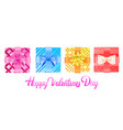 set colorful wrapped gift boxes with bows vector image