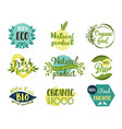 set isolated labels stickers for organic food vector image vector image