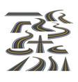 set of bending roads vector image vector image