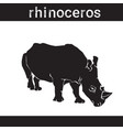 silhouette rhino in grunge design style animal vector image