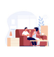 tea time young couple talking drinks and eat vector image vector image