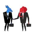 Transaction elephant and donkey Democrats and vector image